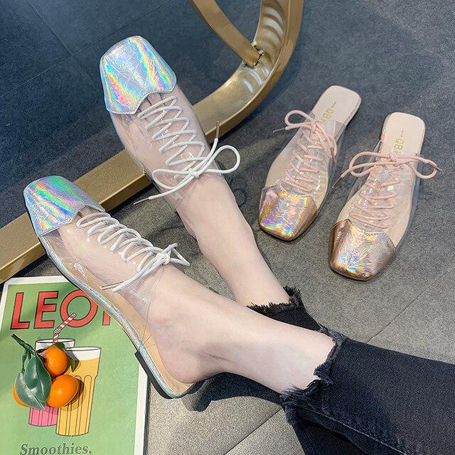 4d89c6662 Chinelos mulheres desgaste 2019 verão nova moda selvagem vermelho net  preguiçosos sapatos com baixos transparentes chinelos meia baotou de pele