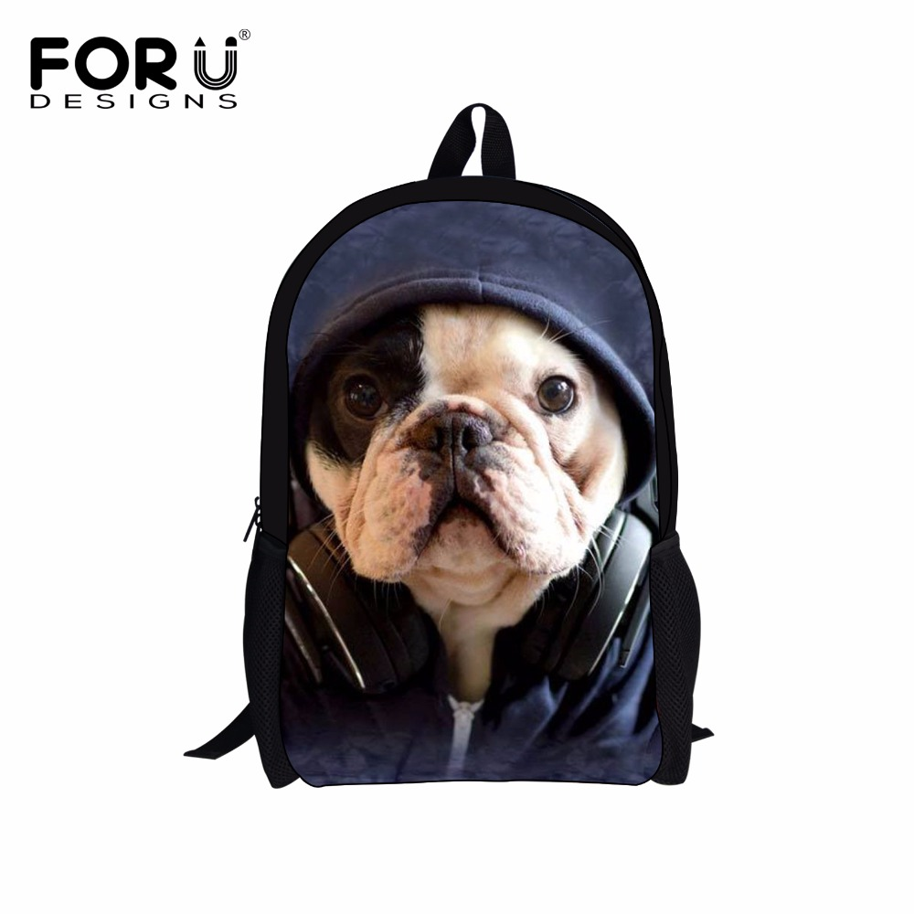 FORUDESIGNS Women Casual Backpack Cute 3D Pug Dog Printing School Backpacks for Teenage Girls Boys Men's Travel Bags Mochila