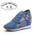 Винтаж Геометрия Вышивка Вышитые Туфли женские Холст Обувь узелок Мягкий Деним Платформы Zapatos Mujer