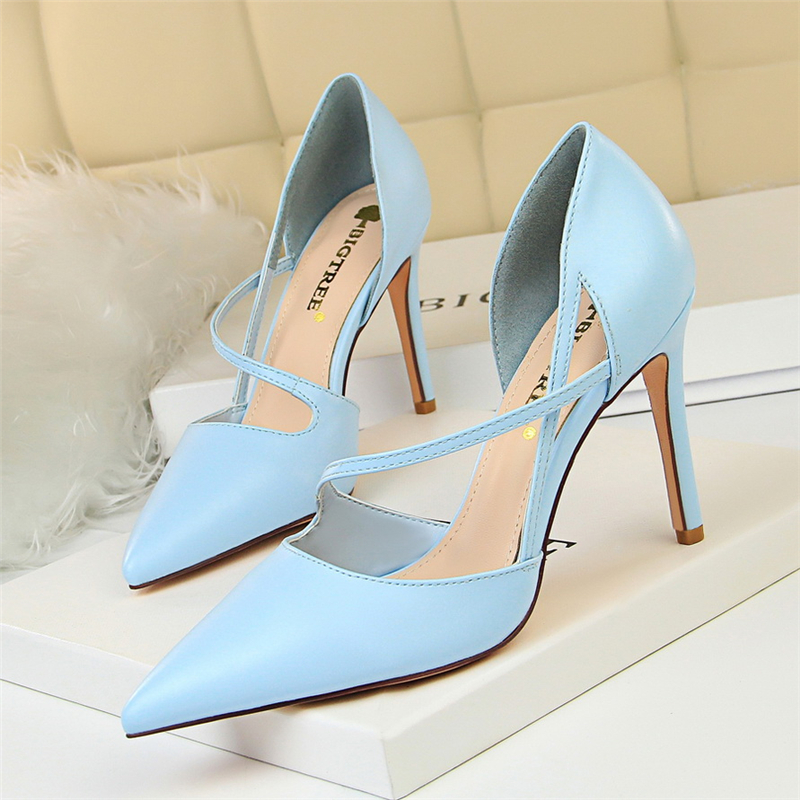 2019 New Summer Luxury Woman Fetish Yellow High Heels Female Classic Strap  Blue Sandals Pink Pumps 808471aa0a92