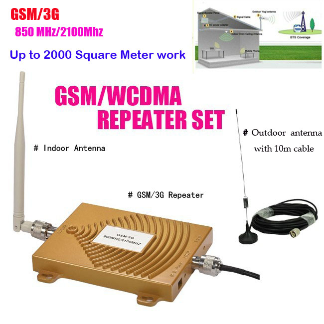 Full Set GSM 900Mhz + 3G W-CDMA 2100MHz Dual Band GSM 3G Repeater Signal Booster, 2G 3G GSM Mobile Phone Signal Repeater Antenna