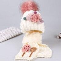 Children Hat Scarf Set Beanie Knit Flower Cap Scarf Winter Hats For Girls Kids Fotografia Age