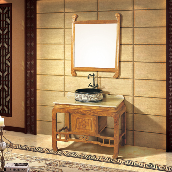 Light Redwood Cabinet And Mirror, Beige Travertine Marble, Single Hole And Single Basin Bathroom