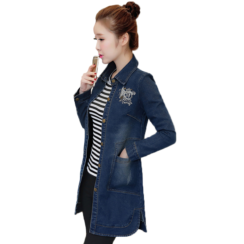 Denim Jeans Manteau Lâche Ok60x Longues Loisirs Manches À Automne 2017 Dernière Turn down Printemps Vestes Poches Tops Col As Picture Femmes Survêtement T4F6ZqX