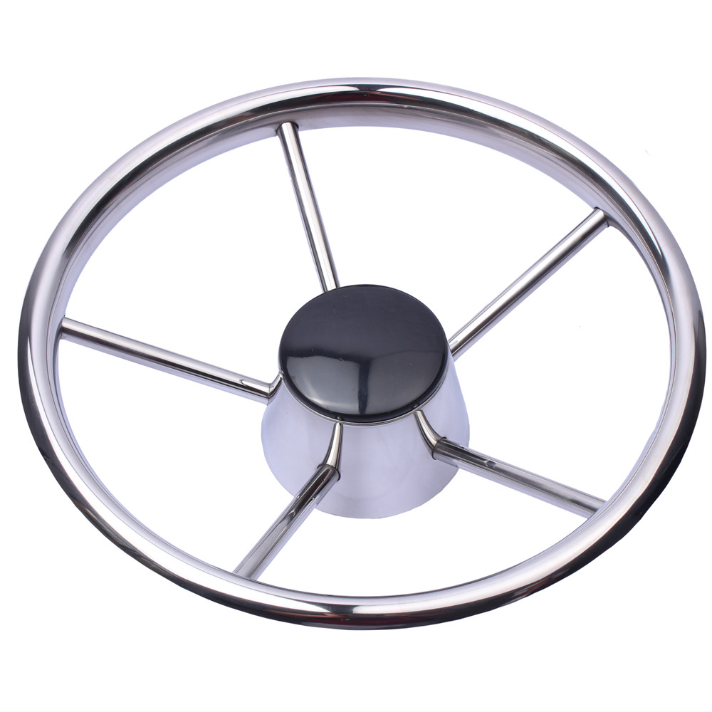 Boat Steering Wheel Stainless Steel 5 Spoke 25 Degree 11 For Marine Yacht