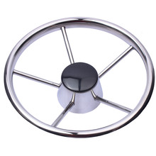 "Boat Steering Wheel Stainless Steel 5 Spoke 25 Degree 11"" For Marine Yacht"