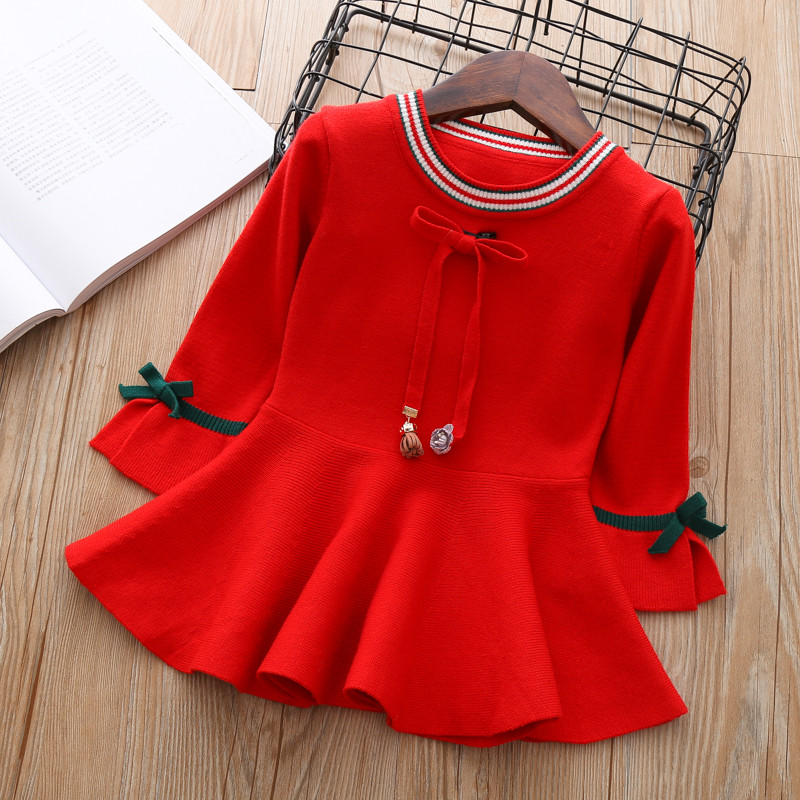 Baby Autumn Dress for Girls Toddler Sweater Pullover kids knitted Clothes thick Dresses Teens Cute Christmas Outfits 4 5 6 years kids winter clothes age for 2 8 years girl clothes thick warm baby pullover 2018 new autumn cute bow sweater back to school tops