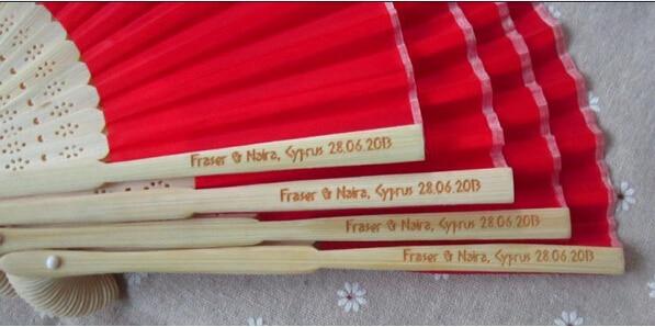 [플라이 이글] 무료 배송 100pcs 맞춤 결혼식 팬 조각 / 핸들에 burt 로고
