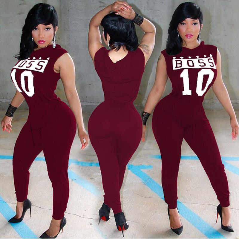 2016 Summer Women Sexy Club Overalls Hoody Casual Letter Print Playsuit Rompers Womens Jumpsuit  One Piece Outfits Long Pants