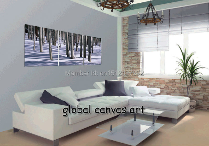 Free Shipping 3 panel Modern Home Decoration Abstract wall art picture Winter scene-woods canvas Print  oil painting canvas art