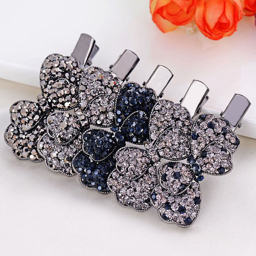 1PC Retro Hairpins Vintage Women Girls Crystal Hair Clip Opal Leaf Resin Butterfly   Headwear   Jewelry Elegant Barrettes Accessory