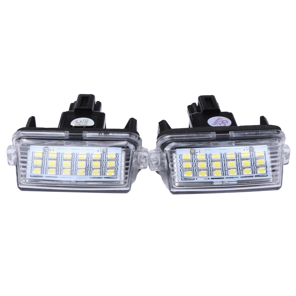 2Pcs 12V 18LEDs 6000K Car LED Bulb License Number Plate Light Lamp External Light for Toyota/Camry/Yaris 2012 2013 Cars cawanerl car canbus led package kit 2835 smd white interior dome map cargo license plate light for audi tt tts 8j 2007 2012