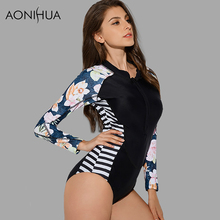 AONIHUA Vibrant Side Striped One Piece Swimsuit for Women 2018 NEW Long sleeve zipper Swimwear female Push up swimming Suit 9014
