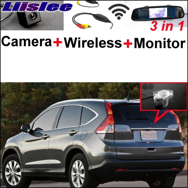 Liislee 3 in1 Special Rear View Camera Wireless Receiver + Mirror Monitor Parking System For Honda For CR-V For CRV FRV HRV MRV wireless pager system 433 92mhz wireless restaurant table buzzer with monitor and watch receiver 3 display 42 call button