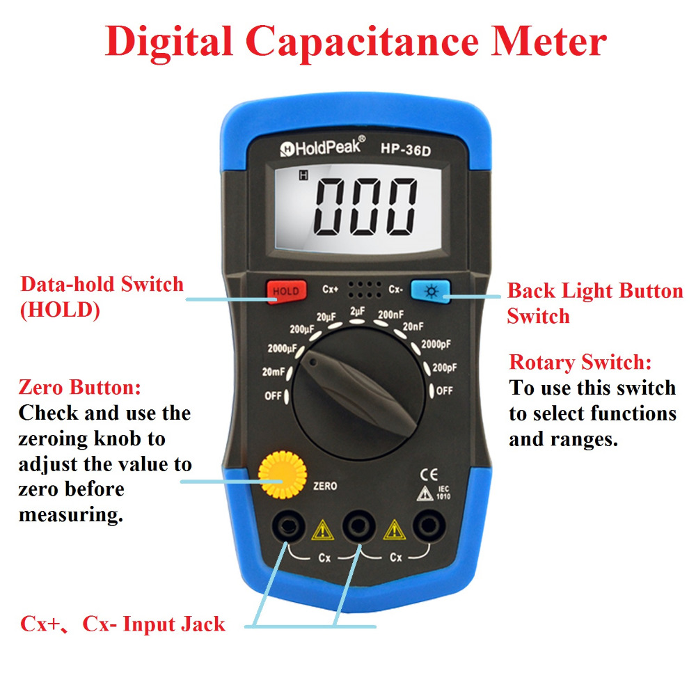 Mini Multimeter Multimetro HoldPeak HP-36D LCD Digital Capacitance meter Capacitor Tester pF mF Circuit Gauge mini multimeter holdpeak hp 36c ad dc manual range digital multimeter meter portable digital multimeter