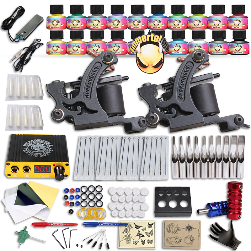 Free Ship DIY 2 Tattoo Machine Complete Kit  20 Color USA Tattoo Inks Tattoo Power Supply Tattoo Body Art animal dolls complete diy kit assorted