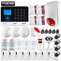 FUERS WG11 Беспроводной GSM дома охранной сигнализации Системы ЖК дисплей Touch Wi Fi GSM Siren RFID движения Pet PIR газ/дым сенсор IP Камера комплект