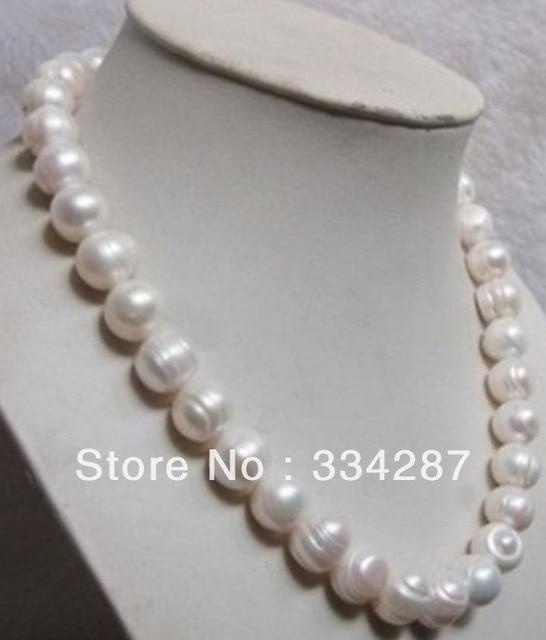 """100% Venta de Imagen completa Natural 9-10 MM blanco BARROCO collar de Perlas 17"""""""