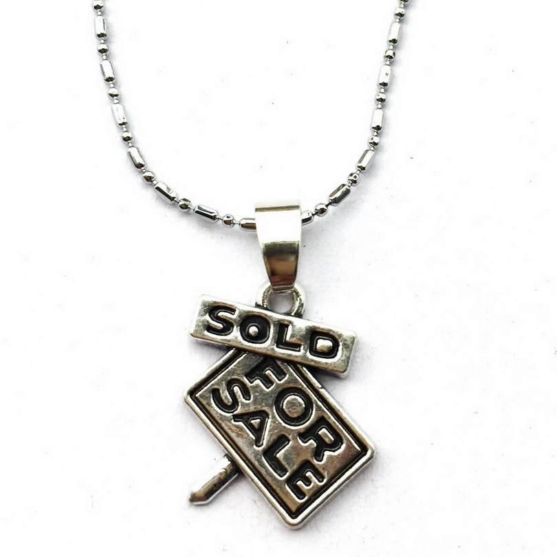 For Sale Necklace Sign Charm New First Home Keepsake Real Estate Agent Jewelry Sold/New  ...