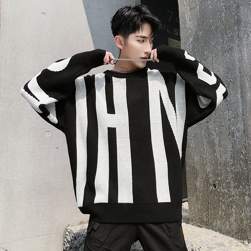 YASUGUOJI New 2019  Hip Hop Fashion Contrast Color  Sweater Men Loose O-Neck Pullover Men Bat Sleeve Men Winter Sweater