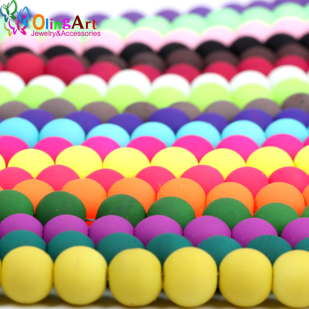 Beads & Jewelry Making Jewelry & Accessories Radient Olingart 6mm/8mm 80pcs/lot Matte Glass Beads Candy Color Neon Jewelry Making Diy Necklace/bracelet/earrings The Best Gift To Ensure A Like-New Appearance Indefinably