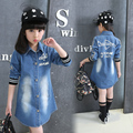 2016 autumn New Arrival Baby Girls Long Sleeve Denim Dresses Girls Fashion Floral Embroidery Denim Dress Kids Dress