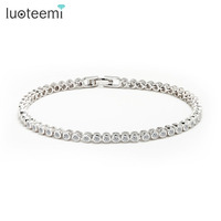 2015 Women Luxury Platinum Plated Genuine Round Clear CZ Tennis Bracelets Bangles For Elegant Party Jewelry