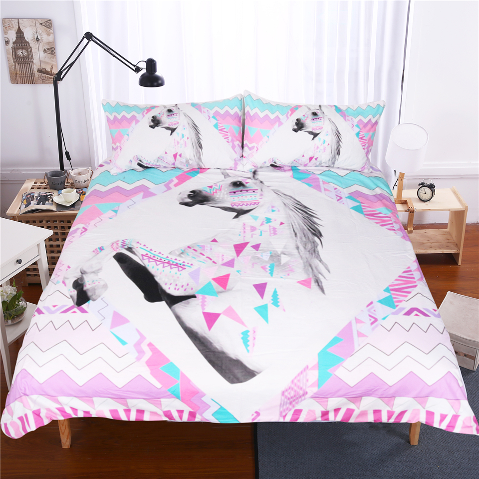 lai yin sun bedding set 3d unicorn duvet cover and pillowcase indian style print exotic. Black Bedroom Furniture Sets. Home Design Ideas