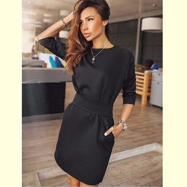 Лето 2017 г. платье Для женщин Мода Повседневное мини платье Цвет короткий рукав o-образным вырезом женское платье два боковых кармана черный Платья для женщин