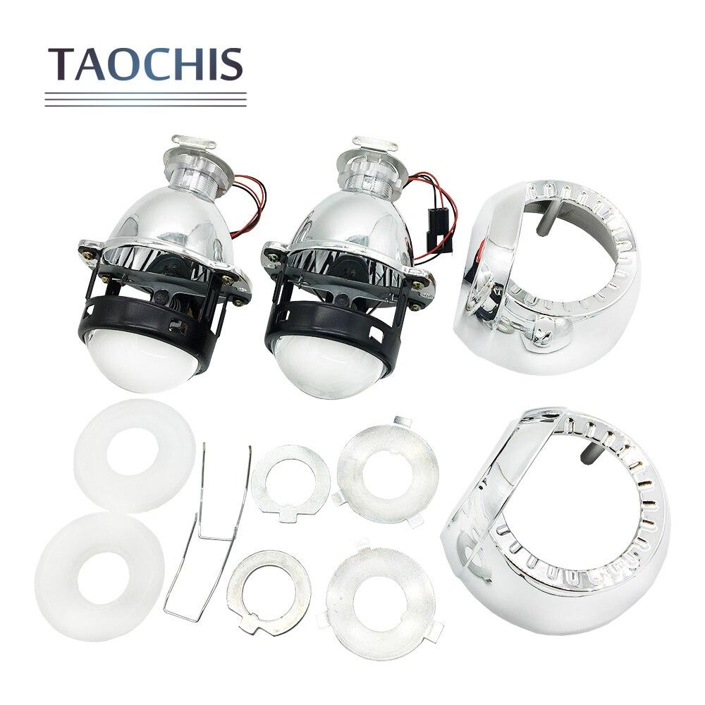 TAOCHIS LHD 1.8 inches Universal HID Mini Bi-xenon Projector Lens H1 H4 H7 with Shroud Head lights H1 Xenon Bulb 9005 9006 2 5 rhd lhd car motor bi xenon for hid projector halo lens angle eye headlights bulb shroud h1 h4 h7