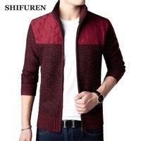 SHIFUREN Winter Men's Turtleneck Sweater Jacket Velvet Thick Male Cardigan Zipper Knitted Coats Outerwear Plus Size S XXXL