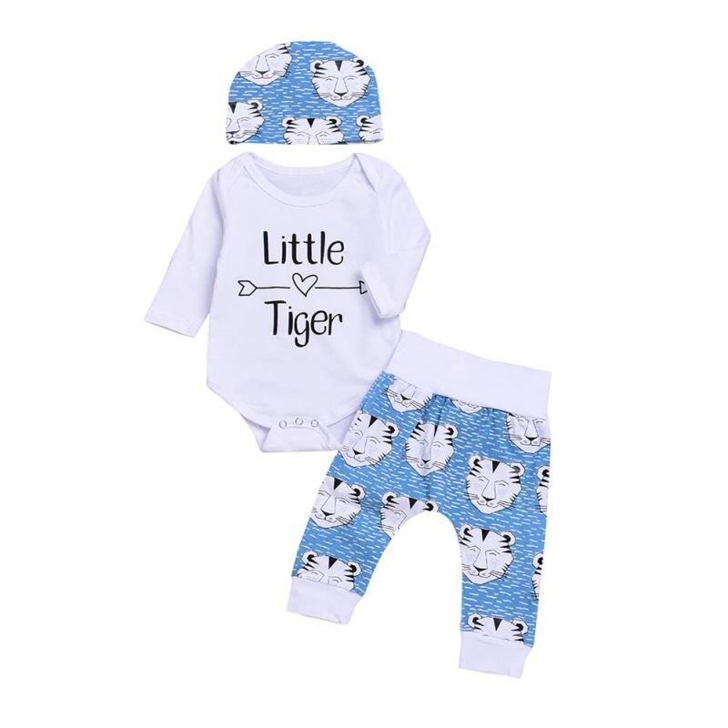 New Fashion Newborn Baby Boys Girls Printing Clothing Hot Sale Kids Costume Romper + Cartoon Tiger Pants Hat 3 stks Clothing Set