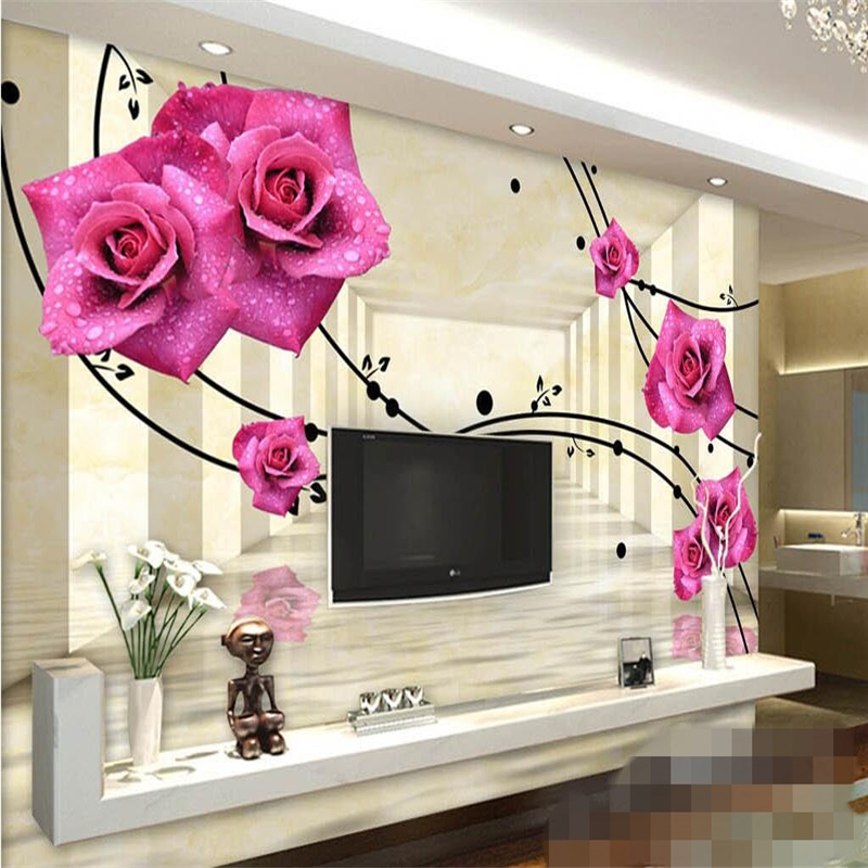 beibehang Custom photo wall stickers purple roses reflection space 3D TV backdrop wall papel de parede wallpaper for walls 3 d