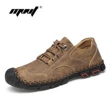 High Quality Split Leather Men Shoes Fashion Comfortable Men's Casual Shoes Lace Up Flats Outdoor Walking Shoes Men цена 2017