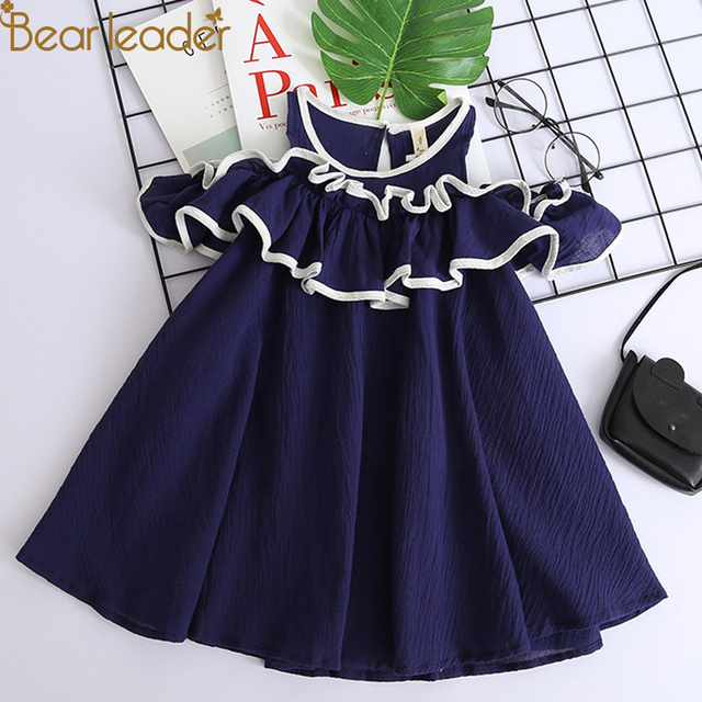 Bear Leader Girls Dress 2019 New Brand Girls Clothes England Style Printing Bow Design Baby Yellow Girls Dress For 3-7Y