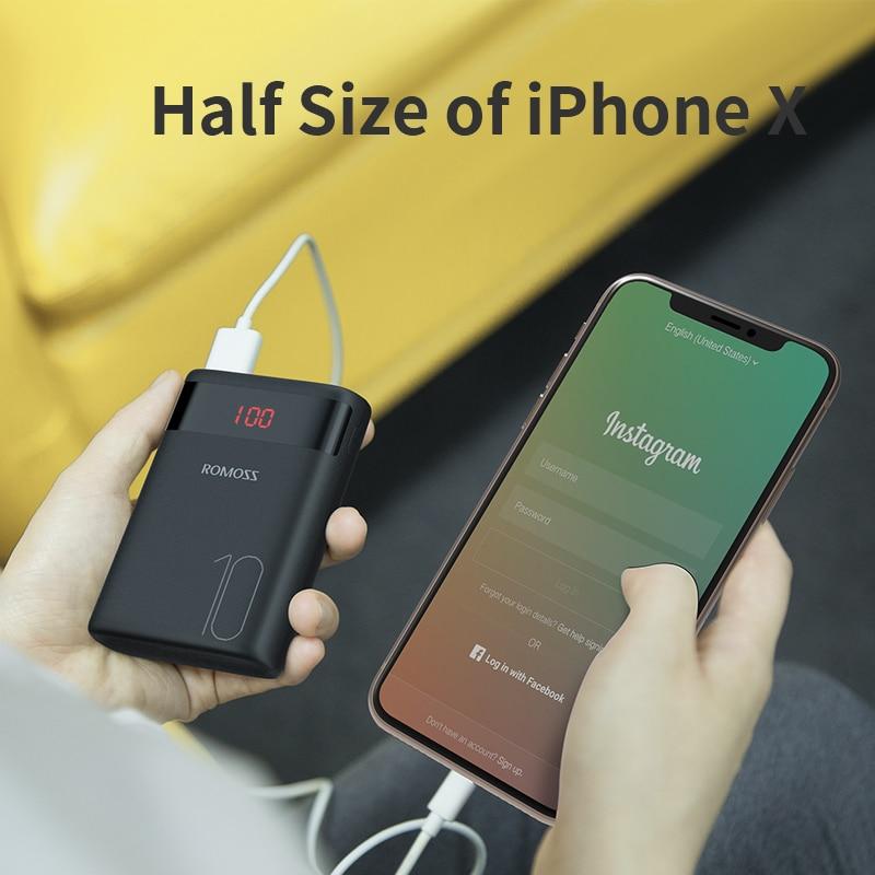 ROMOSS Ares 10 10000 мАч Внешний аккумулятор с двойным usb-портом внешний аккумулятор Размер портативное зарядное устройство для планшета iPhone