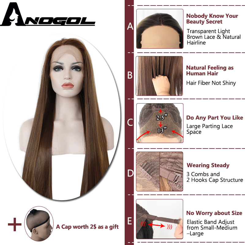 Image 2 - Anogol Dark Brown Lace Front Wig Natural Long Straight Glueless Synthetic High Temperature Heat Resistant Fiber Hair Women Wigs-in Synthetic None-Lace  Wigs from Hair Extensions & Wigs