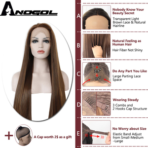 Image 2 - Anogol Dark Brown Lace Front Wig Natural Long Straight Glueless Synthetic High Temperature Heat Resistant Fiber Hair Women Wigs