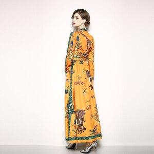 Image 2 - Runway Designer Maxi Dress Womens Elegant Beach Vacation Animal Printing Long Dress Bow Collar Floor Length Party Dresses
