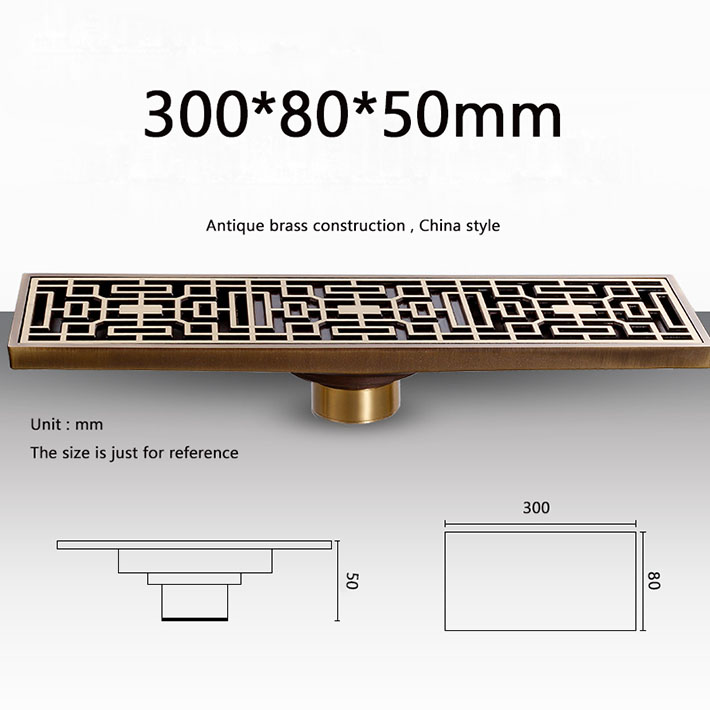 30 cm lengthen European style Brass Antique brass bathroom accessories Washroom Balcony  square floor drain grate waste drains free shipping deodorant floor waste drain oil rubbed bronze 10cmshower floor cover sink grate