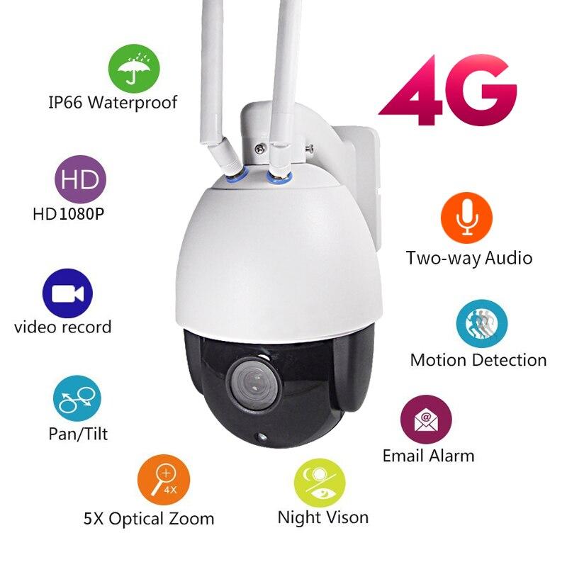 IP Caméra Extérieure HD 1080 P 3g 4g SIM Sans Fil Wi-FI Caméra 2-Way Audio PTZ WIFI Vitesse Dôme Caméra 5X ZOOM P2P CCTV Sécurité est entrée