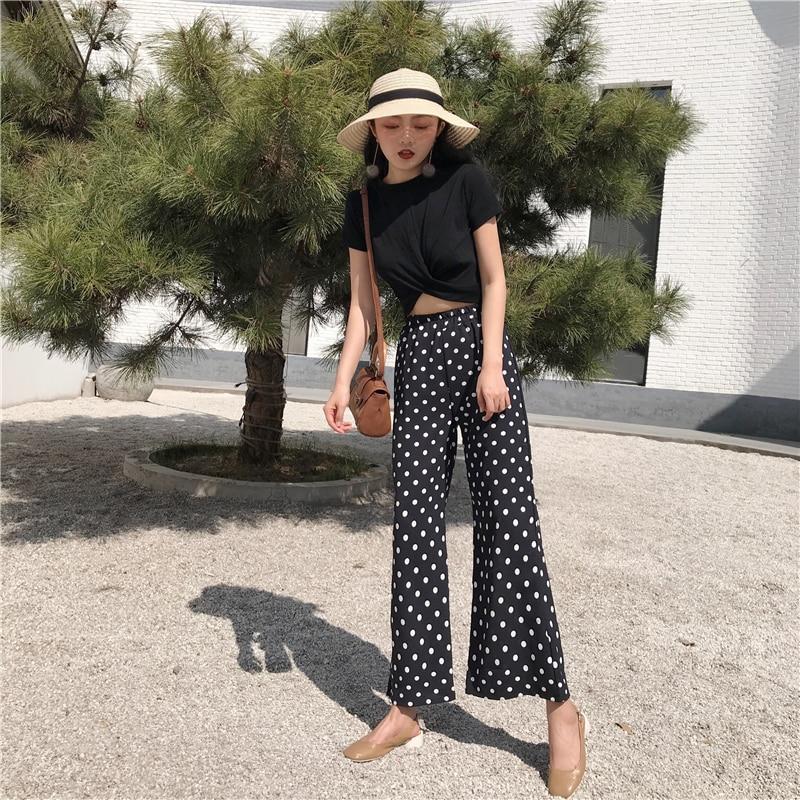 2018 Women Two Piece Set Casual Summer Polka Dot Women 2 Piece Set Top and Pants Cheap Clothes for Women 3