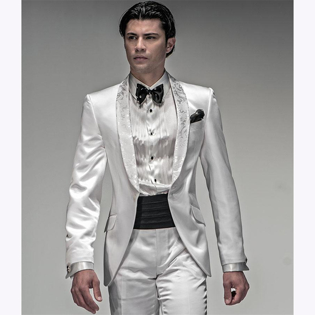 New Mens Suits Groomsmen Shawl Lapel Groom Men Suit Tuxedos 2017 Shiny White Wedding Best