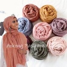 Цельный высококачественный Женский негабаритный однотонный шарф-хиджаб, шали, повязки на голову, вискоза, кашемир, мусульманский, потертый хиджаб, Пашмина