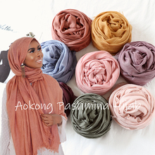 Jeden kawałek wysokiej jakości kobiety Oversize stałe zwykły hidżab szalik szale okłady głowy wiskoza kaszmirowy muzułmańskie postrzępione Hijabs Pashmina