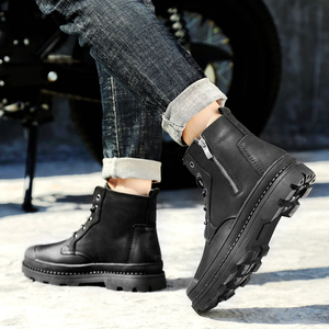 Image 4 - Mens winter boots work safety shoes casual genuine leather classics black plush nice boot man shoe ankle military boots for men
