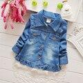 2016 Jaquetas Jeans Luva Cheia de Outono Crianças de Algodão Do Bebê Recém-nascido Meninas Da Criança Do Bebê Casaco Fashion Outwear Azul Denim de lavagem de Areia