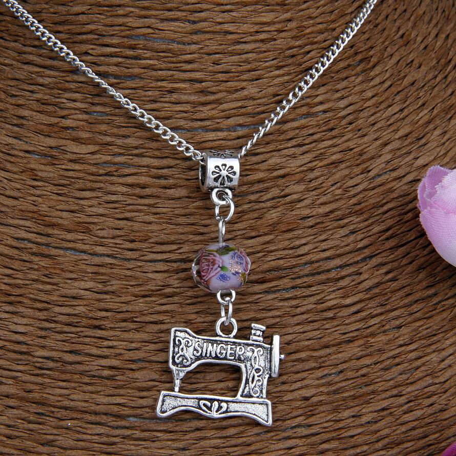 US $10 49 25% OFF|Hot 10PCS Zinc Alloy Plating Silver Sewing Machine&Flower  Bead Charm Pendant Popular Necklace Jewelry DIY For Women&Men J257-in