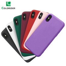 Silicone Phone Case For iPhone X XS Max XR 8 7 6s Plus 5S SE Cases Simple Solid Color Ultra Thin Soft TPU Candy Back Cover