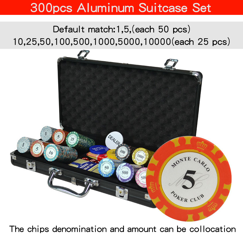 100,200,300,400,500Casino Texas Clay Poker Chip Sets Pokers Aluminum Suitcase With Playing Cards&Dices&Dealer Buttom